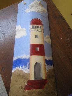 Tejas pintadas con acrílicos y arena