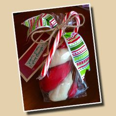 Homemade 'candy cane' play dough...So fun for kids Christmas gifts...