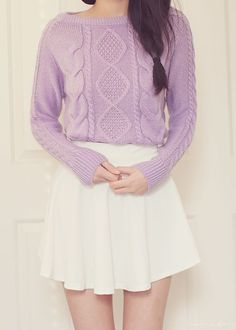 lovely way to wear a cozy sweater ^^ Fall outfits School outfits Purple sweater outfit Pastel Fashion, Kawaii Fashion, Cute Fashion, Fashion Outfits, Womens Fashion, Doll Style, Style Lolita, Pastel Outfit, Kawaii Clothes