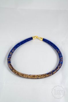Bead filled Mesh Necklace in blue and gold by TubesJewelry on Etsy