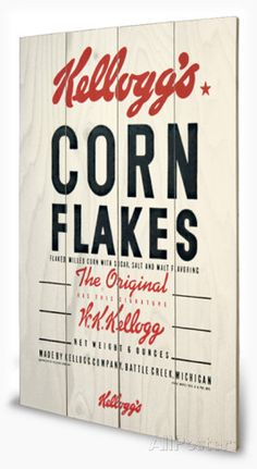 Vintage Kelloggs - Corn Flakes Wood Sign Wood Sign - AllPosters.co.uk