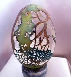 Egg shell artwork by Christel Assante. She uses emu, ostrich, nandu, goose, pheasant, duck, and quail eggs for her art, but prefers the nandu because it is thick and gives more possibilities, but very difficult to find. People donate eggs to her, usually friends and family who own animals who lay. Christel is currently the most popular Egg Carver in all of France because of her unique style and delicate hands.