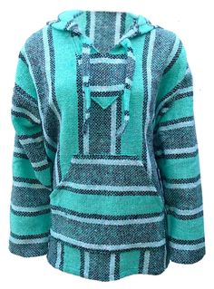 Baja Hoodie Surfer Mexican Poncho * FREE SHIPPING * Mint Green Charcoal SMALL #Hoodie