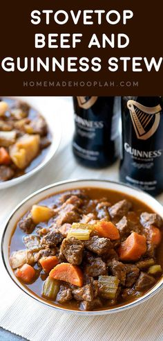 Stovetop Beef and Guinness Stew! Pan-seared beef and bacon are cooked with a melody of veggies and herbs in a savory Guinness stew. Makes for a delicious dinner or pure fall comfort food! | http://HomemadeHooplah.com