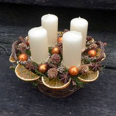Vánoční svícen pomerančový / Zboží prodejce KYTKA DESIGN | Fler.cz Christmas Candle Decorations, Advent Candles, Christmas Flowers, Christmas Candles, Winter Christmas, Christmas Home, Christmas Wreaths, Christmas Ornaments, Deco Table Noel