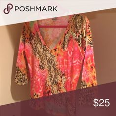 To knit stretch sequence top Bright orange good condition with small sequence Alberto Makali Tops Tees - Long Sleeve