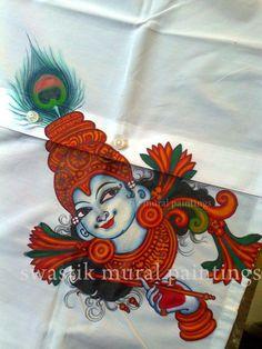 Naughty expression of Krishna Saree Painting, Kerala Mural Painting, Tanjore Painting, Fabric Painting, Indian Traditional Paintings, Indian Paintings, Hand Painted Fabric, Mural Art, Tribal Art