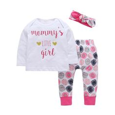 Infant Baby Girls T-shirt Top Long Pants Leggings Outfit Cotton Clothes Set Toddler Newborn Girl Letter Print Clothing Set Baby Girl Fashion, Kids Fashion, Style Fashion, Baby Girl Newborn, Baby Girls, Pantalon Long, Band Outfits, Baby Suit, Toddler Girl Outfits