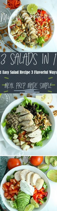 Try this salad template for 1 easy salad 3 flavorful ways! These salads make having a healthy lunch every day easy and delicious! Easy Salad Recipes, Easy Salads, Healthy Salads, Easy Dinner Recipes, Breakfast Recipes, Healthy Eating, Healthy Recipes, Healthy Foods, Healthy Munchies