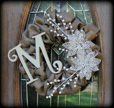 Christmas Winter Wrapped Burlap Wreath with by aKnackforDecor, $42.00