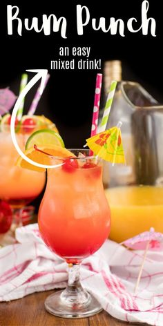 Pineapple juice and orange juice come together with dark rum and grenadine to make an irresistible summer rum punch cocktail! Perfect for pool parties and backyard barbecues! Fruity Mixed Drinks, Fruity Alcohol Drinks, Alcoholic Punch Recipes, Easy Mixed Drinks, Rum Punch Recipes, Alcoholic Desserts, Coctails Recipes, Alcohol Drink Recipes, Alcoholic Shots