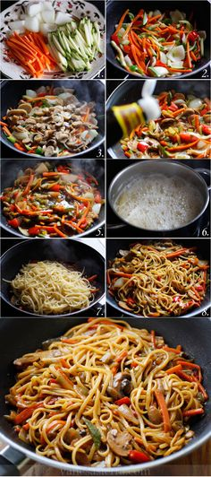 Tallarines con verduras, paso a paso (receta china)