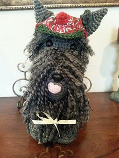Scottish Terrier Dog Crochet Amigurumi Pattern, free, intermediate level