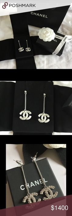 Chanel CC Silver dangle earrings Brand new authentic Chanel drop earrings. Absolutely stunning. Comes with velvet duster, box, ribbon, flower and shopping bag. Glimmering crystals on both sides of CC. CHANEL Jewelry Earrings