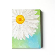 WHITE DAISY 5x7 Orignal Paintings Acrylic on Canvas by nJoyArt