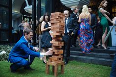 Have some fun playing giant jenga on the lawn with your wedding guests. #HoiAnEventsWeddings #HoiAn #VietnamBeachWeddings