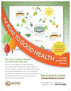 Healthcare marketing campaign created to promote a soon-to-open family medicine center. Marketing efforts were concentrated within geo-targeted areas and included points of interest relevant to the area. Created for Jackson Hospital by Tuscaloosa, AL ad agency TotalCom Marketing.