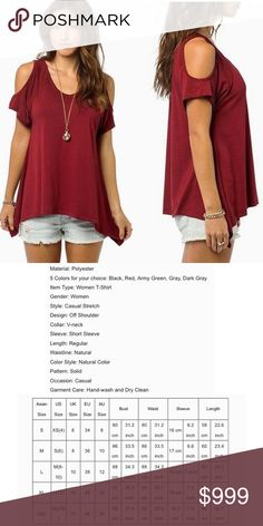 COMING SOON Sexy Casual V-Neck Off Shoulder T-Shirt Short Sleeve Solid Stretch Tops. Tops Blouses