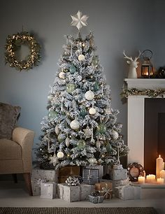 6ft snowy woodland white flock christmas tree