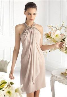 Chiffon Halter Sheath Short Cocktail Dress - Cocktail - WHITEAZALEA.com