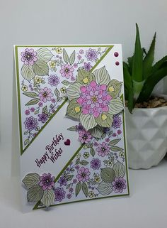 Stampin' Up! Demonstrator stampwithpeg : Pootlers Celebrating Sale-a-bration blog hop : Inside the Lines, Watercolour Birthday card. I am very excited to be part of today's Pootlers Celebrating Sal…