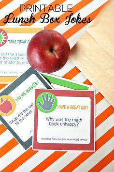 Printable Back to School Lunch Box Jokes - fun to send your kids off to school with! School lunch id Back To School Lunch Ideas, Back To School Essentials, School Lunch Box, School Fun, School Lunches, School Ideas, College Lunch, Middle School, High School