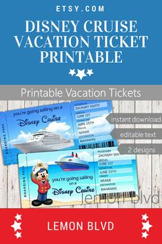 """Disney Cruise """"Ticket"""" – Custom Cruise Boarding Pass for a surprise vacation or trip! Instant Download PDF File. Edit Text – Personalize with names, dates, and more. Print at home or your local office supply store. Cut designs after printing, and deliver your gift! #DisneyCruiseLine #DisneyCruise #Printable #Ad #Affiliate #DisneyVacation #Scrapbooking #SurpriseCruise"""