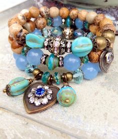 Hey, I found this really awesome Etsy listing at https://www.etsy.com/listing/185652904/beaded-gemstone-charm-bracelet-stack-3