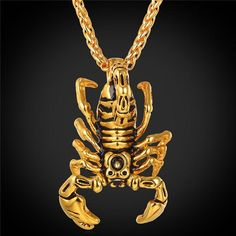Scorpion Statement Necklace & Pendant Gold Color Stainless Steel Vintage American Style