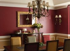 Dining Room With Chandelier And Burgundy Walls : Burgundy Walls Make A Bold Statement