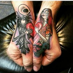 The Nightmare Before Christmas tattoos. Those would be great couple tattoos. Jack Tattoo, Tattoo You, Tattoo Hand, Amazing 3d Tattoos, Beautiful Tattoos, Disney Tattoos, Disney Couple Tattoos, Trendy Tattoos, Small Tattoos