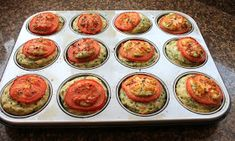 TRIED & TESTED-Cheesy Spinach Muffins Recipe calls for standard muffin size. I opted for mini-muffins and used Grape tomatoes instead of standard tomatoes. Parmesan Zucchini Chips, Other Recipes, Great Recipes, Cheddar, Pistachio Muffins, Spinach Muffins, Vegetable Appetizers, Queso Feta, Baking Muffins