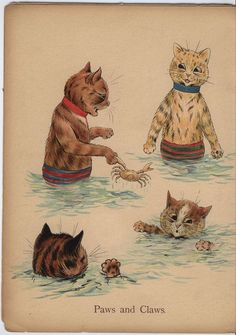 Paws and Claws ~ Louis Wain's Cat Painting Book.  It's the darkest cat's little paw sticking up that steals my heart!
