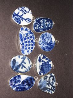 Asian porcelain shard framed charms photos 575