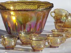 marigold luster carnival glass grapes punch bowl & cups, 70s vintage