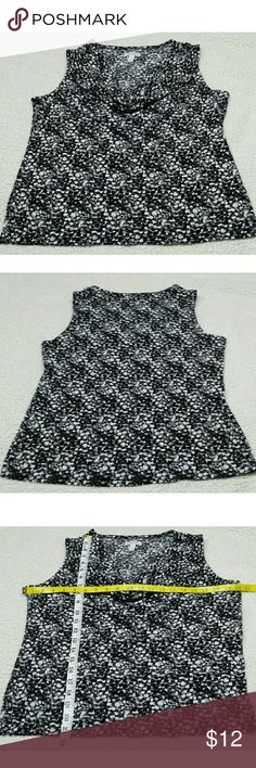 Charter club cowl Neckline blouse Career or casual wear this sleeveless blouse size Large  (black gray &white ) Charter Club Tops Blouses