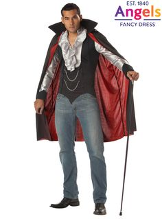 The Very Cool Vampire costume includes a shirt with attached waistcoat and a cape with red lining. **International Shipping** http://www.fancydress.com/costumes/Very-Cool-Vampire/0~1104637