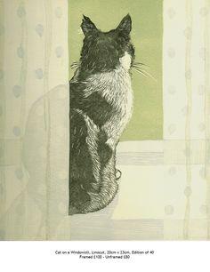 Cat on a Windowsill by Vanessa Lubach - linocut 20cm x 23cm