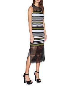 <ul> <li>Preppy stripes combine with flirty lace in a fitted design</li>  <li>Round neck</li>  <li>Lace yoke</li>  <li>Sleeveless</li>  <li>Back zipper</li>  <li>Front and back shaping seams</li>  <li>Side slit lace hem</li>  <li>Lined</li>  <li>Polyester/spandex</li>  <li>Dry clean</li>  <li>Imported</li>  </ul><li>This item will arrive with a tag attached and instructions for removal. Once tag is removed, this item cannot be returned.</li></ul>