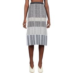 Proenza Schouler Knit Pencil Skirt ($1,015) ❤ liked on Polyvore featuring skirts, white knee length skirt, white knit skirt, knee length pencil skirt, knit skirt and proenza schouler skirt