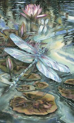 Dragonfly with water lilies lily Dragonfly Art, Dragonfly Tattoo, Dragonfly Painting, Dragonfly Drawing, Silk Painting, Painting & Drawing, Art Carte, Art Watercolor, Photo D Art