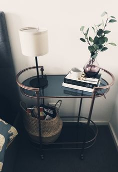Unique bedside table styling, using a bar trolley spray painted rose gold. Unique Bedside Tables, Bedside Table Styling, Spray Paint Rose Gold, Trolley Table, Vintage Bar, New Room, Table Decorations, Living Room, Wi Fi