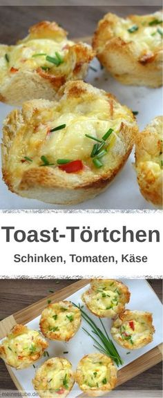Rezept für leckere Toast-Törtchen mit gekochten Schinken und Tomaten. Überbacken mit einer Käse-Eier-Mischung. Ideal als Frühstück, oder auch kalt für unterwegs. #frühstück #überbacken #toast