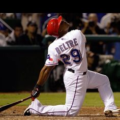 Adrian Beltre on his signature bent knee slam