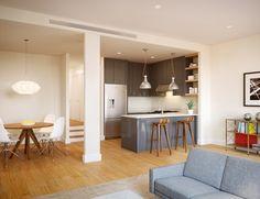 Brooklyn Brownstone interior - kitchen/living room