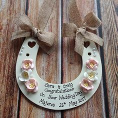 Personalised wedding horseshoe HANDMADE You Chose Colour for Flowers Rustic Wedding Gifts, Personalized Wedding, Organza Ribbon, Wedding 2017, Orange Flowers, Wedding Supplies, Congratulations, Weddings, Colour