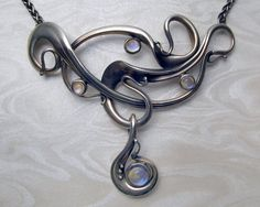 Metamorphosis Jewellery Workshop Art Nouveau Necklace with Blue Moonstones Bezel Set