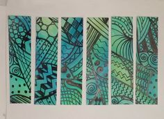 Doodled Watercolour Bookmarks https://www.youtube.com/user/BeCre8ive2 #Doodle #Doodling