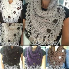 Different version of the Margaret Button Cowl, a free crochet pattern from Fiber Flux  http://www.fiberfluxblog.com/2014/09/free-crochet-patternmargaret-button-cowl.html