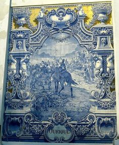 The battle of Ourique painted on tile, Portugal    Azulejos de Portugal, Portuguese Tiles, azulejos
